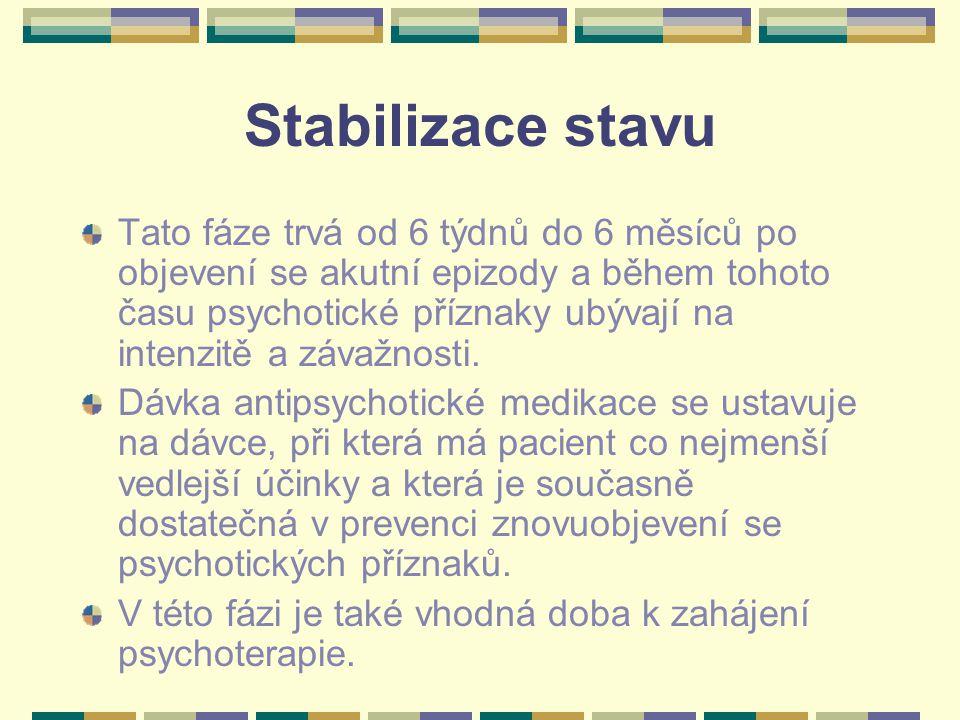Stabilizace stavu Tato fáze trvá od 6 týdnů do 6 měsíců po objevení se akutní epizody a během tohoto času psychotické příznaky ubývají na intenzitě a