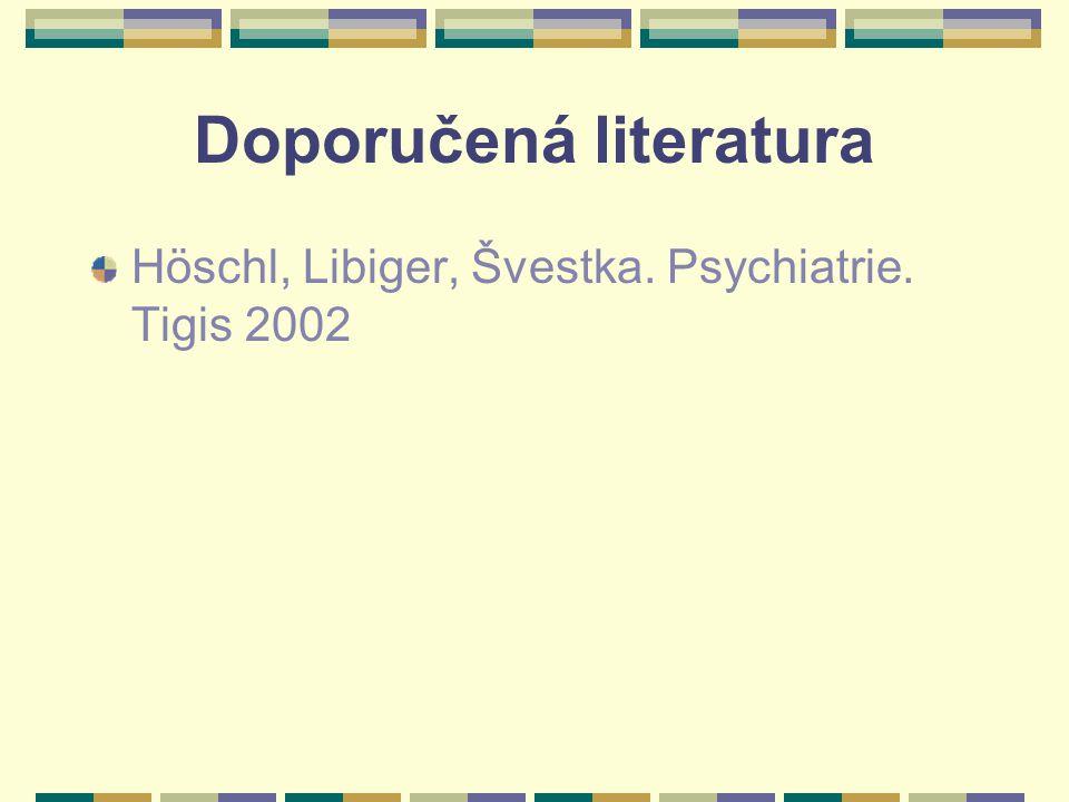 Doporučená literatura Höschl, Libiger, Švestka. Psychiatrie. Tigis 2002