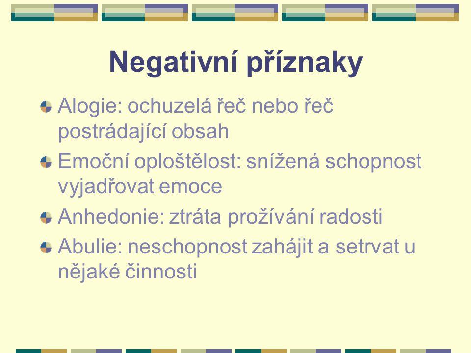 Negativní příznaky Alogie: ochuzelá řeč nebo řeč postrádající obsah Emoční oploštělost: snížená schopnost vyjadřovat emoce Anhedonie: ztráta prožívání