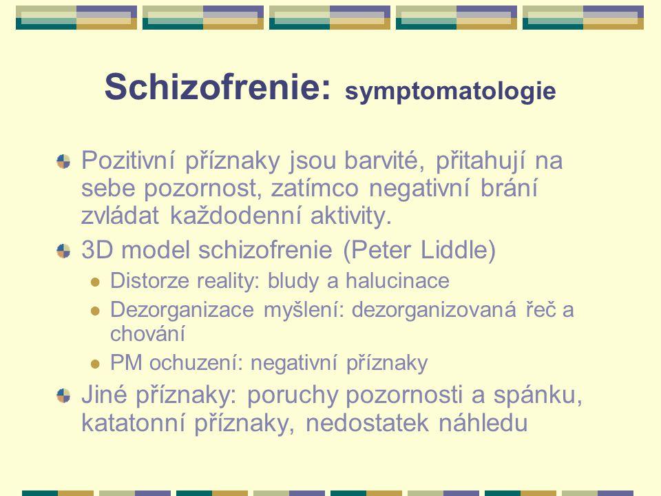 Schizofrenie: symptomatologie Pozitivní příznaky jsou barvité, přitahují na sebe pozornost, zatímco negativní brání zvládat každodenní aktivity. 3D mo