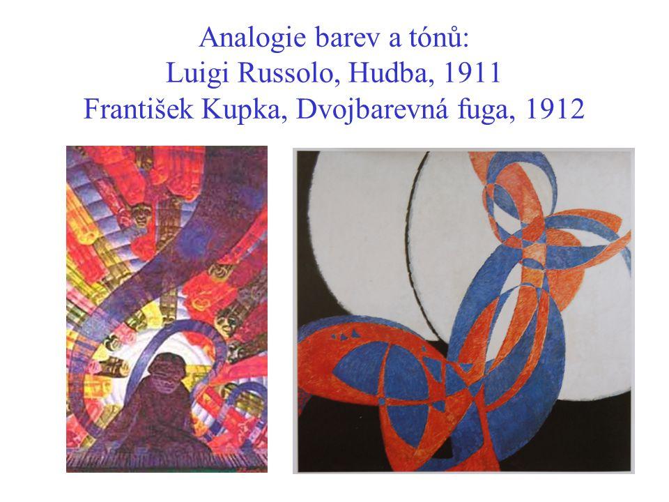 Analogie barev a tónů: Luigi Russolo, Hudba, 1911 František Kupka, Dvojbarevná fuga, 1912