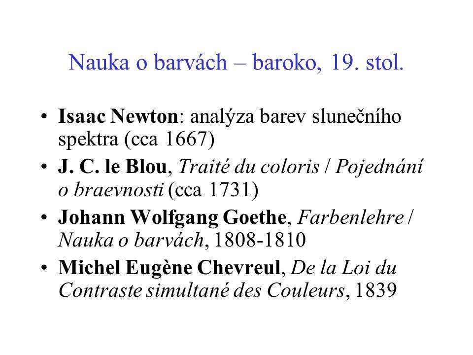 Nauka o barvách – baroko, 19. stol. Isaac Newton: analýza barev slunečního spektra (cca 1667) J. C. le Blou, Traité du coloris / Pojednání o braevnost