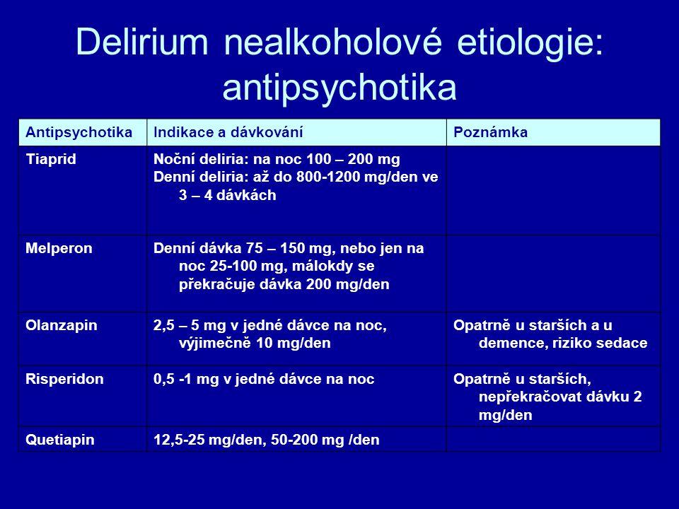 Delirium nealkoholové etiologie: antipsychotika AntipsychotikaIndikace a dávkováníPoznámka TiapridNoční deliria: na noc 100 – 200 mg Denní deliria: až