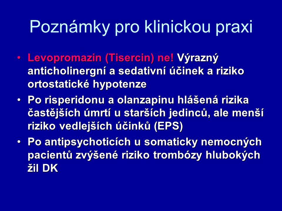 Poznámky pro klinickou praxi Levopromazin (Tisercin) ne! Výrazný anticholinergní a sedativní účinek a riziko ortostatické hypotenzeLevopromazin (Tiser