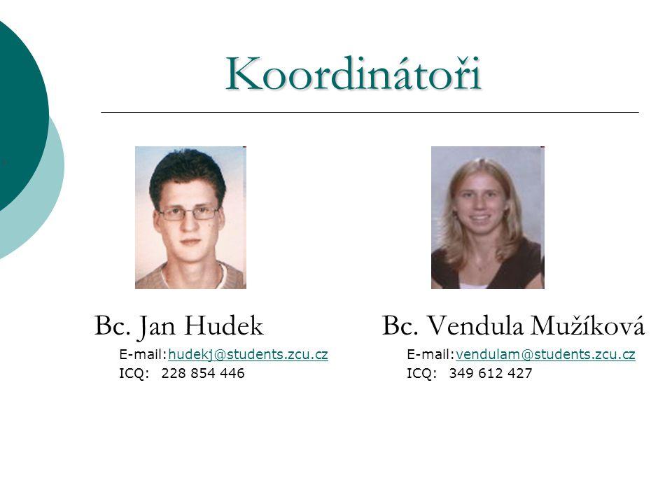 Koordinátoři Bc. Jan Hudek E-mail:hudekj@students.zcu.czhudekj@students.zcu.cz ICQ:228 854 446 Bc.