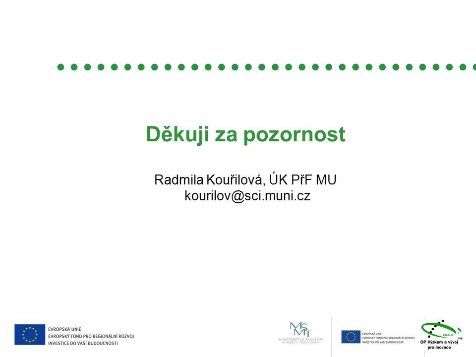 Děkuji za pozornost Radmila Kouřilová, ÚK PřF MU kourilov@sci.muni.cz