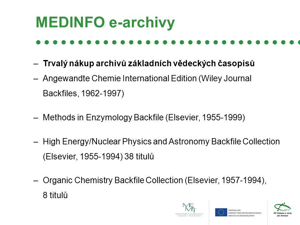 MEDINFO e-archivy –Trvalý nákup archivů základních vědeckých časopisů –Angewandte Chemie International Edition (Wiley Journal Backfiles, 1962-1997) –M