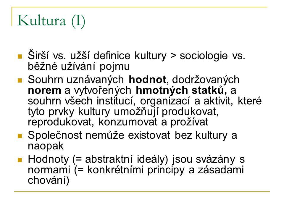 Kultura (I) Širší vs. užší definice kultury > sociologie vs.