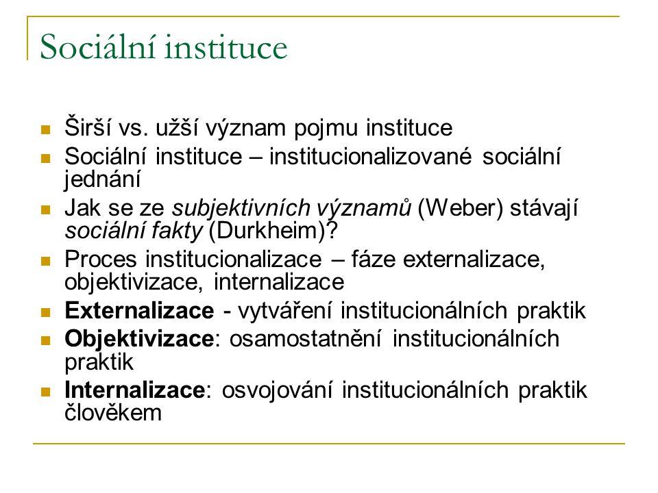 Sociální instituce Širší vs.