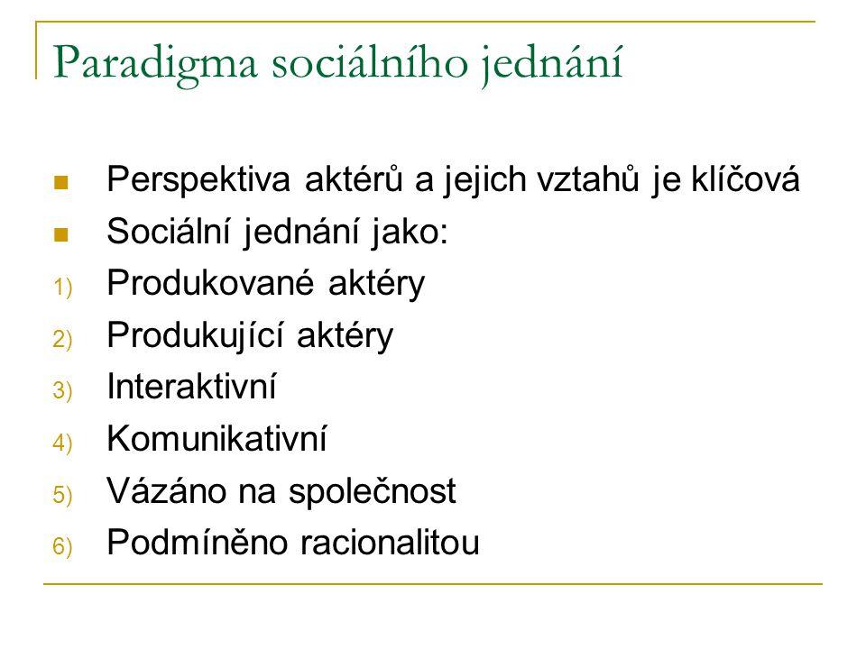 Paradigma sociálního jednání Perspektiva aktérů a jejich vztahů je klíčová Sociální jednání jako: 1) Produkované aktéry 2) Produkující aktéry 3) Interaktivní 4) Komunikativní 5) Vázáno na společnost 6) Podmíněno racionalitou