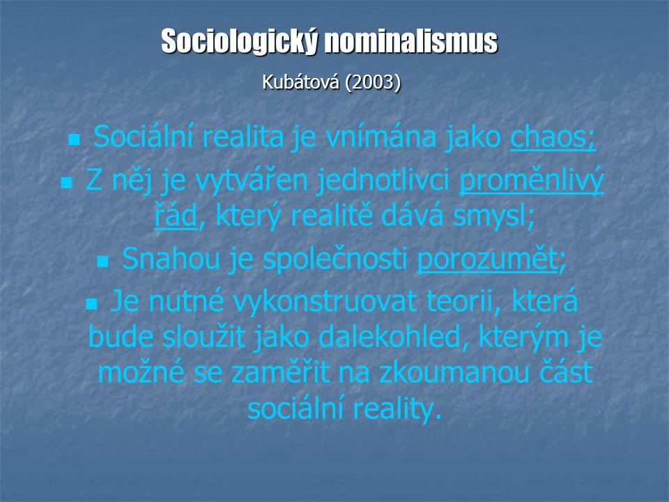 Sociologický nominalismus Kubátová (2003) Sociální realita je vnímána jako chaos; Z něj je vytvářen jednotlivci proměnlivý řád, který realitě dává smysl; Snahou je společnosti porozumět; Je nutné vykonstruovat teorii, která bude sloužit jako dalekohled, kterým je možné se zaměřit na zkoumanou část sociální reality.