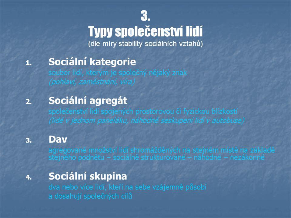 3. Typy společenství lidí (dle míry stability sociálních vztahů) 1.