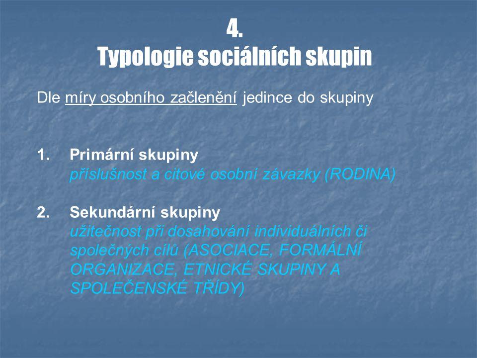4. Typologie sociálních skupin Dle míry osobního začlenění jedince do skupiny 1.Primární skupiny příslušnost a citové osobní závazky (RODINA) 2.Sekund
