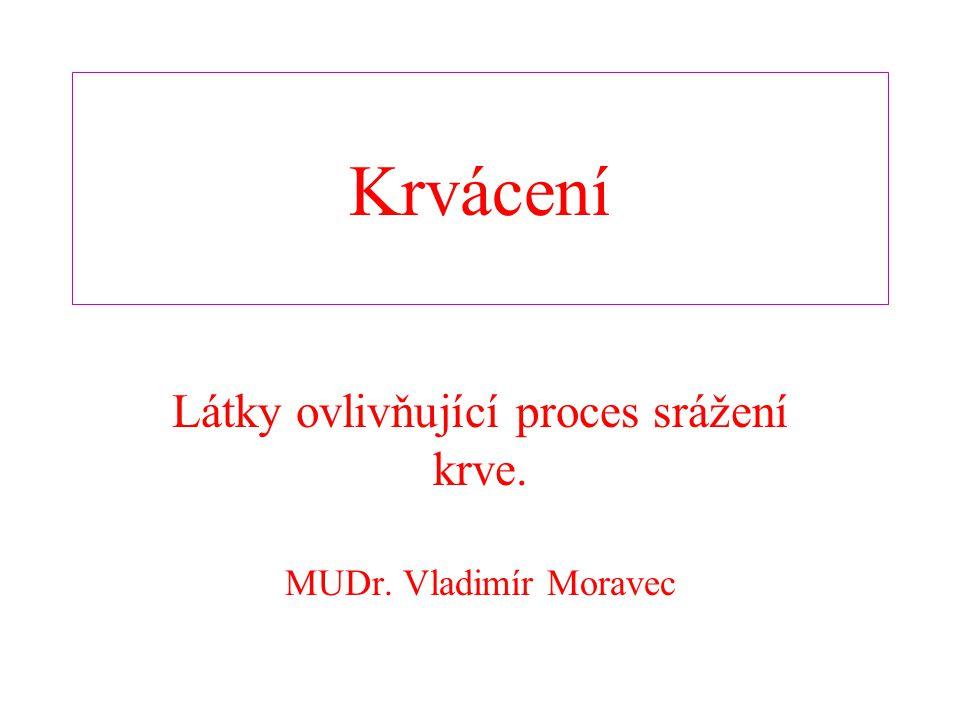 Krvácení Látky ovlivňující proces srážení krve. MUDr. Vladimír Moravec