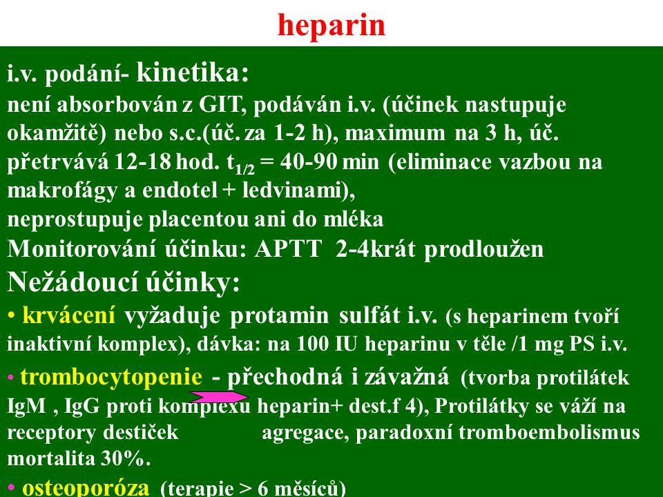 heparin i.v. podání- kinetika: není absorbován z GIT, podáván i.v. (účinek nastupuje okamžitě) nebo s.c.(úč. za 1-2 h), maximum na 3 h, úč. přetrvává
