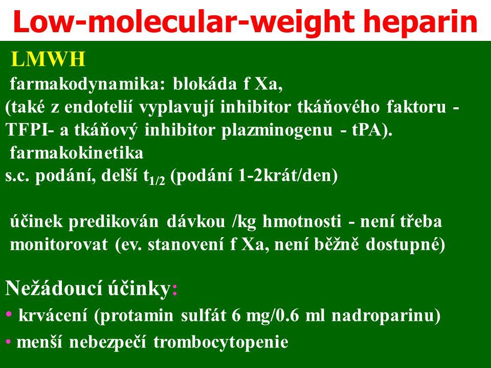LMWH farmakodynamika: blokáda f Xa, (také z endotelií vyplavují inhibitor tkáňového faktoru - TFPI- a tkáňový inhibitor plazminogenu - tPA). farmakoki