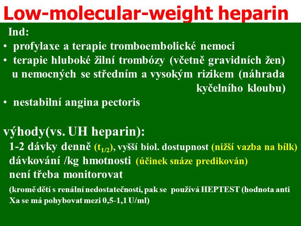 Low-molecular-weight heparin Ind: profylaxe a terapie tromboembolické nemoci terapie hluboké žilní trombózy (včetně gravidních žen) u nemocných se stř