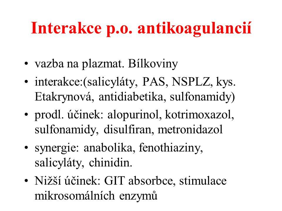 Interakce p.o. antikoagulancií vazba na plazmat. Bílkoviny interakce:(salicyláty, PAS, NSPLZ, kys. Etakrynová, antidiabetika, sulfonamidy) prodl. účin