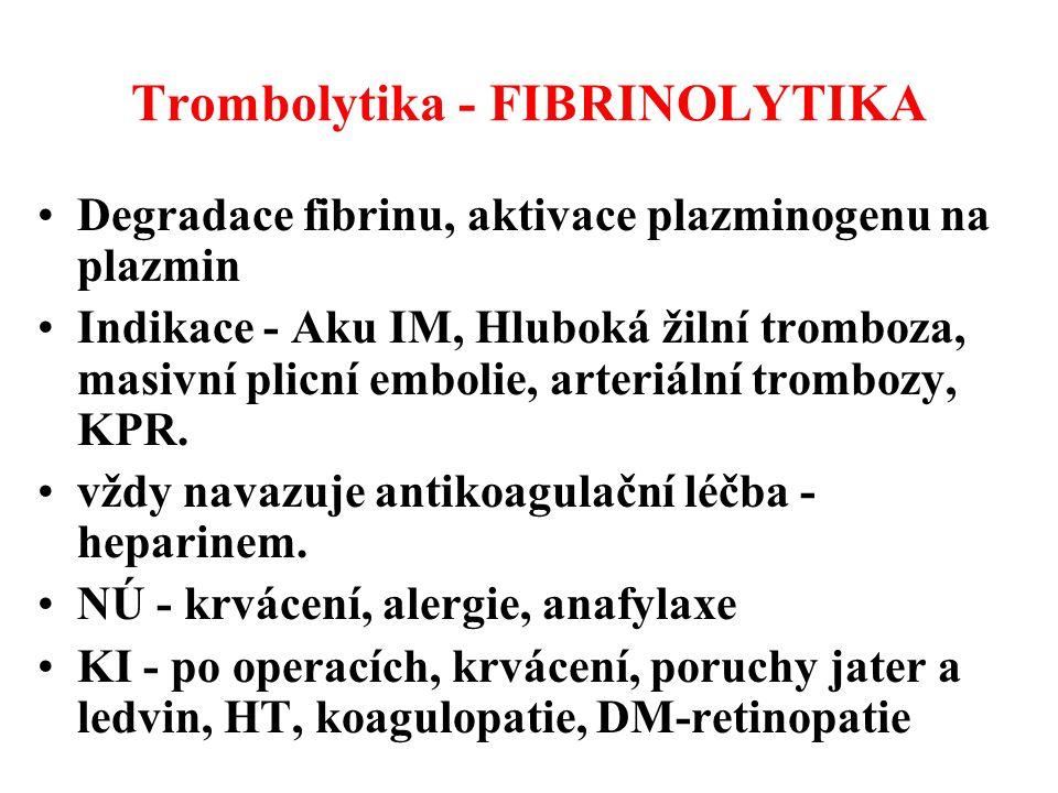 Trombolytika - FIBRINOLYTIKA Degradace fibrinu, aktivace plazminogenu na plazmin Indikace - Aku IM, Hluboká žilní tromboza, masivní plicní embolie, ar