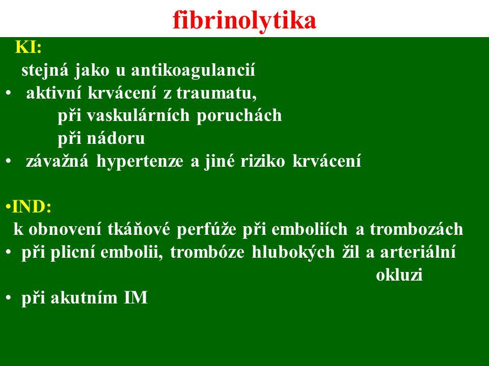 KI: stejná jako u antikoagulancií aktivní krvácení z traumatu, při vaskulárních poruchách při nádoru závažná hypertenze a jiné riziko krvácení IND: k