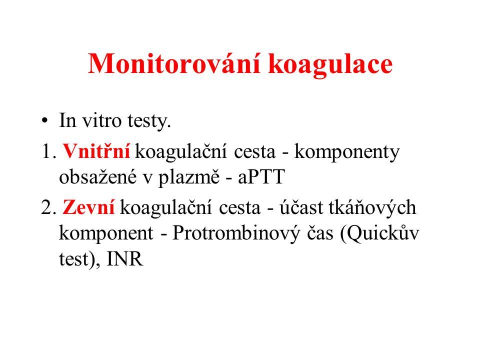 Monitorování koagulace In vitro testy. 1. Vnitřní koagulační cesta - komponenty obsažené v plazmě - aPTT 2. Zevní koagulační cesta - účast tkáňových k