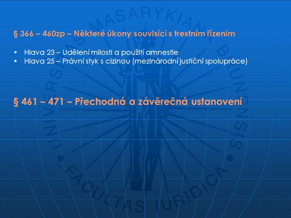 § 366 – 460zp – Některé úkony souvisící s trestním řízením Hlava 23 – Udělení milosti a použití amnestie Hlava 25 – Právní styk s cizinou (mezinárodní justiční spolupráce) § 461 – 471 – Přechodná a závěrečná ustanovení