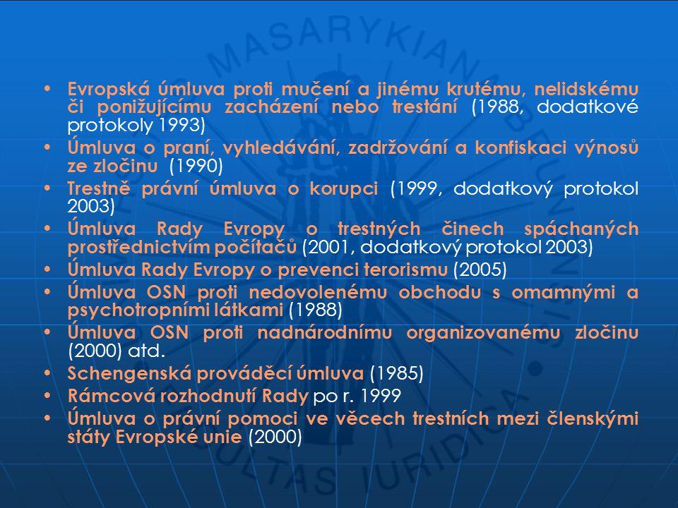 Evropská úmluva proti mučení a jinému krutému, nelidskému či ponižujícímu zacházení nebo trestání (1988, dodatkové protokoly 1993) Úmluva o praní, vyh