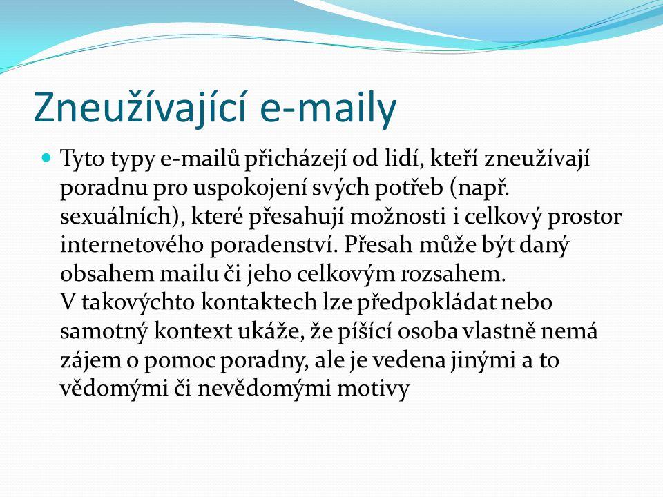 Příklad zneužívajícího e-mailu Na dětskou linku důvěry se opakovaně obrací 65-ti letá žena, která posílá e-maily, které mají běžně rozsah 10 normostran s textem, ve kterém si stěžuje na současné poměry a chválí komunistické období v České republice.