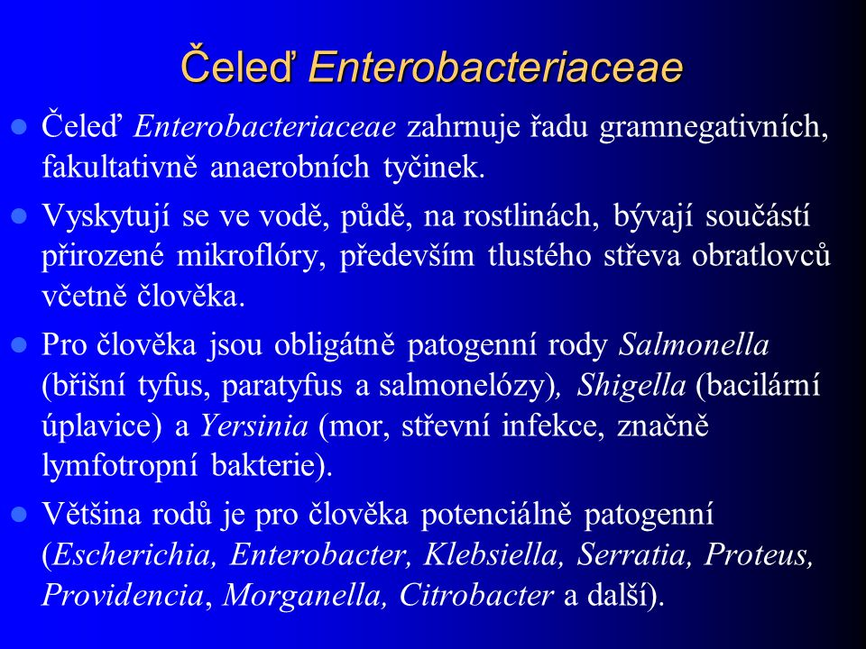 Čeleď Enterobacteriaceae Čeleď Enterobacteriaceae zahrnuje řadu gramnegativních, fakultativně anaerobních tyčinek. Vyskytují se ve vodě, půdě, na rost