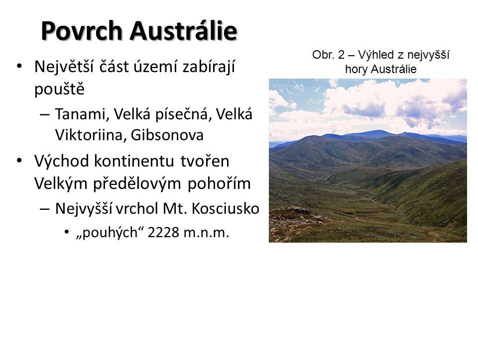 Povrch Austrálie Největší část území zabírají pouště – Tanami, Velká písečná, Velká Viktoriina, Gibsonova Východ kontinentu tvořen Velkým předělovým pohořím – Nejvyšší vrchol Mt.