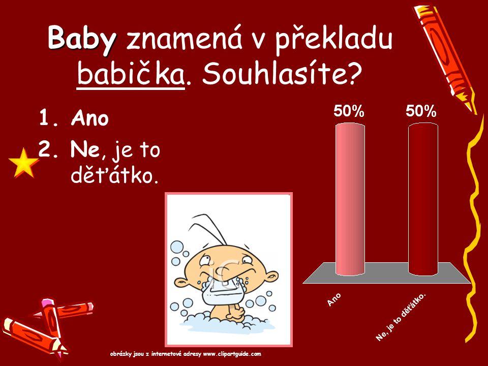 Baby Baby znamená v překladu babička. Souhlasíte? 1.Ano 2.Ne, je to děťátko. obrázky jsou z internetové adresy www.clipartguide.com