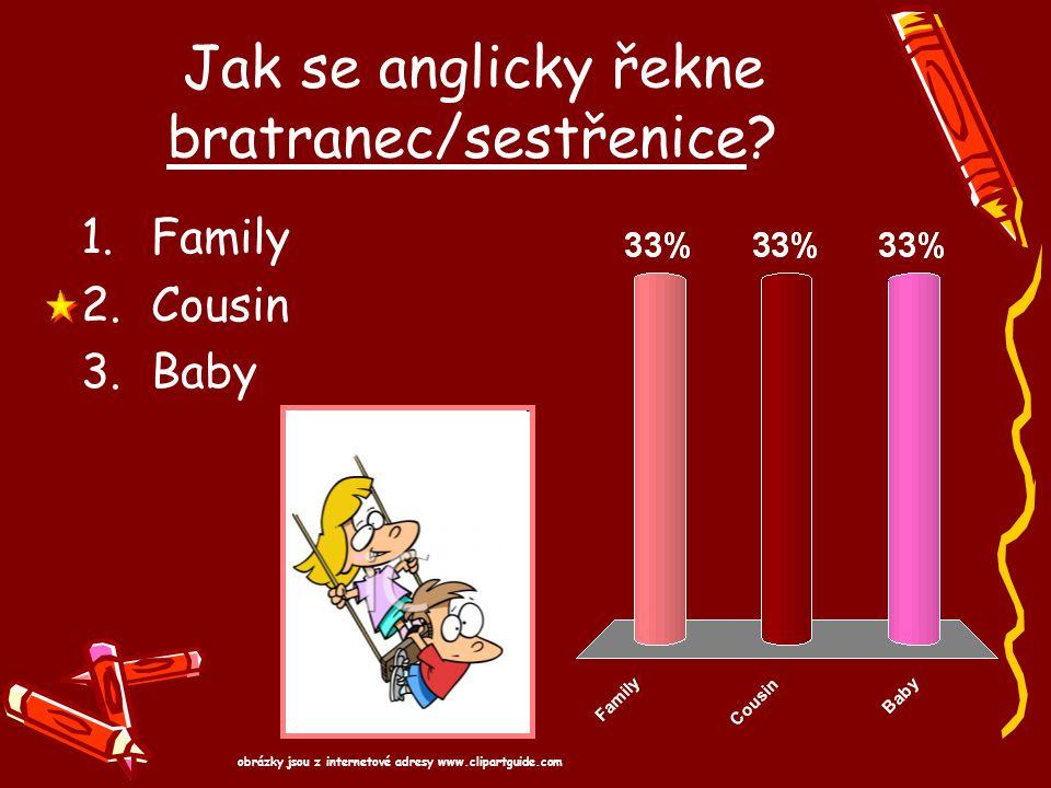 Jak se anglicky řekne bratranec/sestřenice? 1.Family 2.Cousin 3.Baby obrázky jsou z internetové adresy www.clipartguide.com