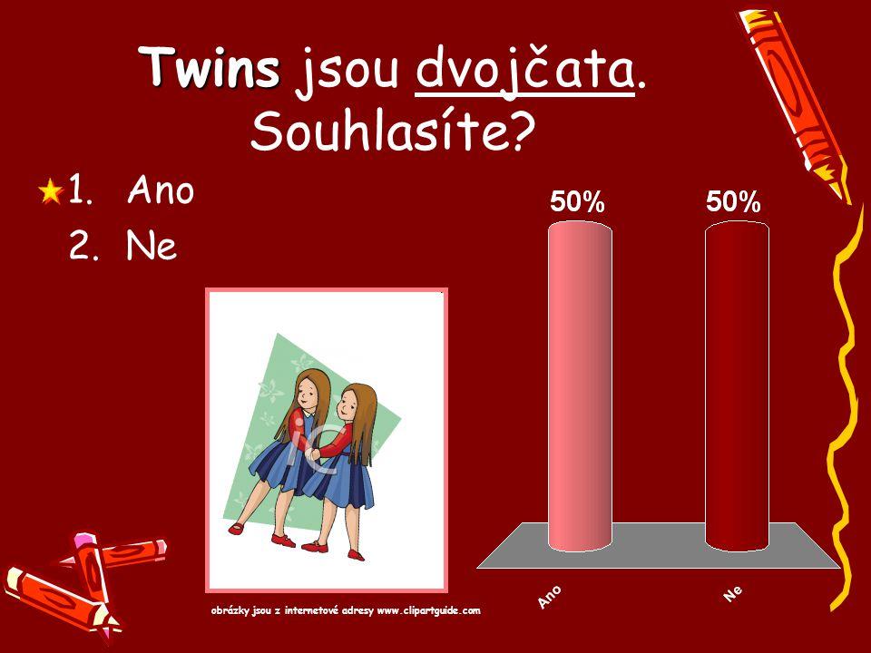 Twins Twins jsou dvojčata. Souhlasíte? 1.Ano 2.Ne obrázky jsou z internetové adresy www.clipartguide.com