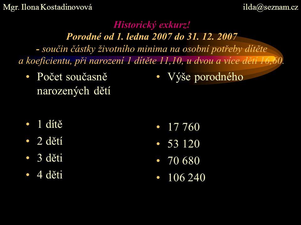 Historický exkurz! Porodné od 1. ledna 2007 do 31. 12. 2007 - součin částky životního minima na osobní potřeby dítěte a koeficientu, při narození 1 dí
