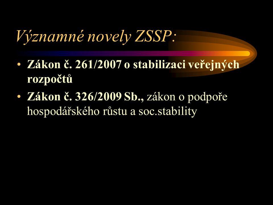 Významné novely ZSSP: Zákon č. 261/2007 o stabilizaci veřejných rozpočtů Zákon č. 326/2009 Sb., zákon o podpoře hospodářského růstu a soc.stability