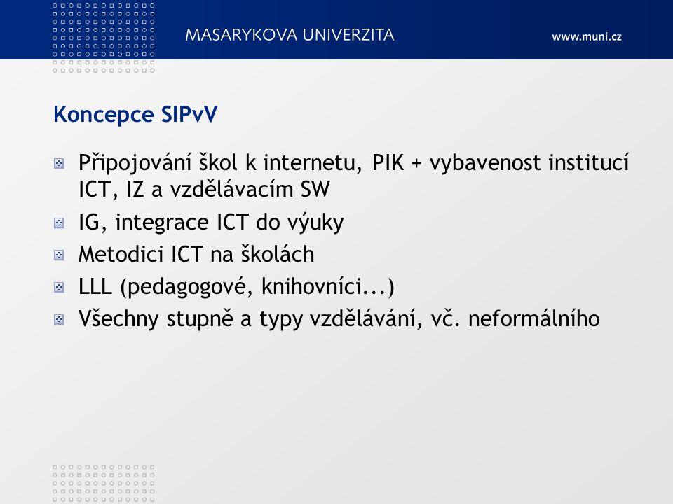 Koncepce SIPvV Připojování škol k internetu, PIK + vybavenost institucí ICT, IZ a vzdělávacím SW IG, integrace ICT do výuky Metodici ICT na školách LL
