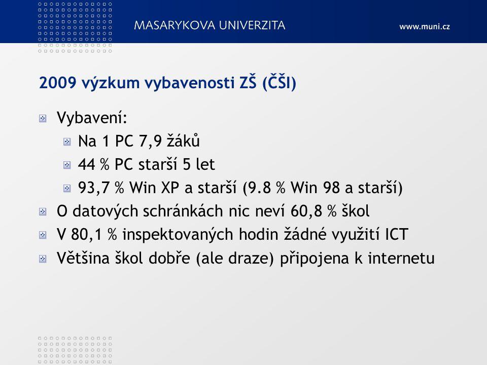 2009 výzkum vybavenosti ZŠ (ČŠI) Vybavení: Na 1 PC 7,9 žáků 44 % PC starší 5 let 93,7 % Win XP a starší (9.8 % Win 98 a starší) O datových schránkách