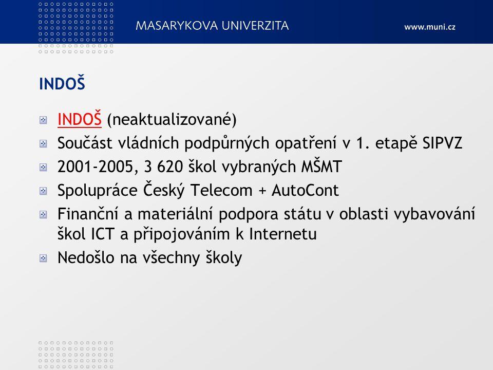 INDOŠ INDOŠ (neaktualizované) Součást vládních podpůrných opatření v 1. etapě SIPVZ 2001-2005, 3 620 škol vybraných MŠMT Spolupráce Český Telecom + Au