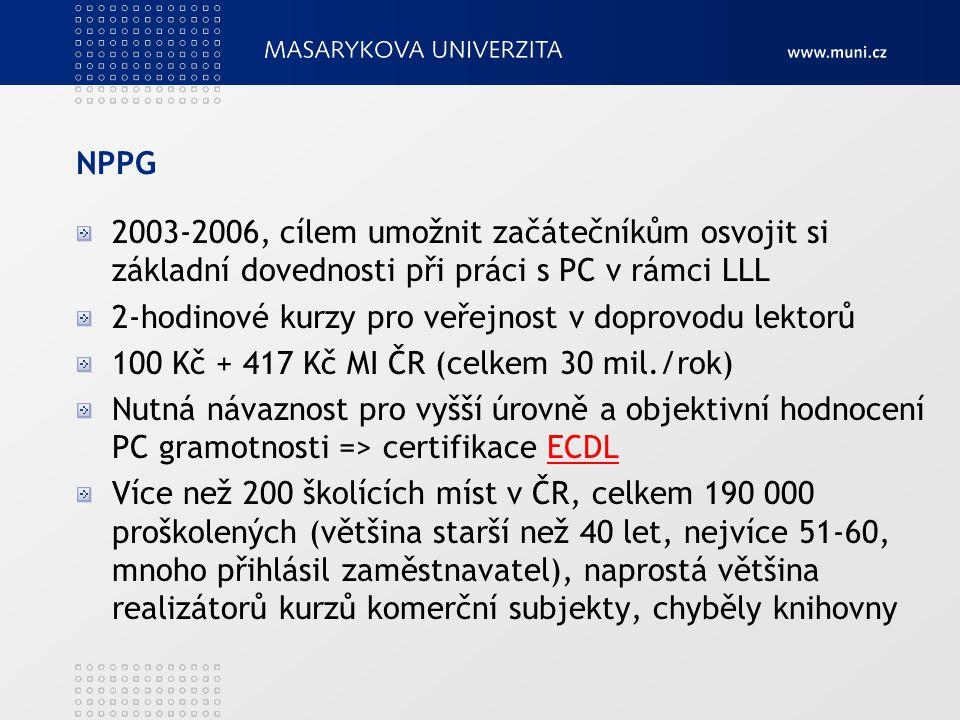 NPPG 2003-2006, cílem umožnit začátečníkům osvojit si základní dovednosti při práci s PC v rámci LLL 2-hodinové kurzy pro veřejnost v doprovodu lektor