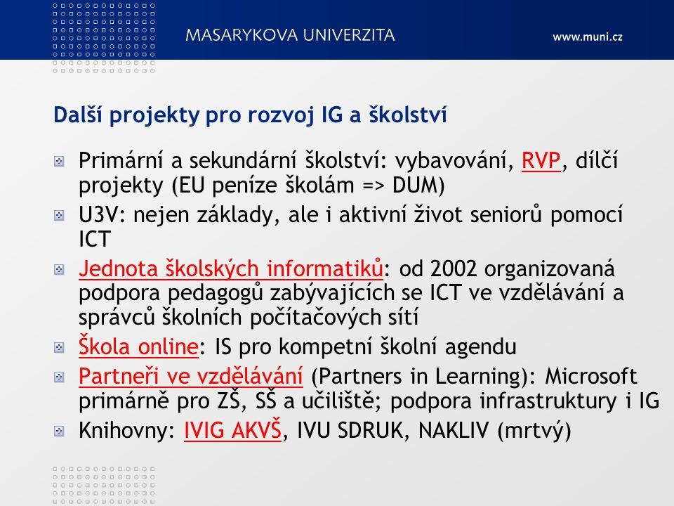 Další projekty pro rozvoj IG a školství Primární a sekundární školství: vybavování, RVP, dílčí projekty (EU peníze školám => DUM)RVP U3V: nejen základ