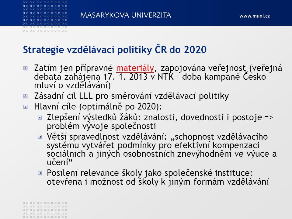Strategie vzdělávací politiky ČR do 2020 Zatím jen přípravné materiály, zapojována veřejnost (veřejná debata zahájena 17. 1. 2013 v NTK – doba kampaně