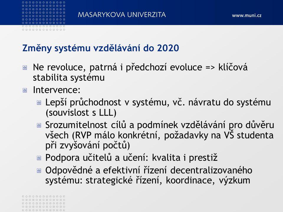 Změny systému vzdělávání do 2020 Ne revoluce, patrná i předchozí evoluce => klíčová stabilita systému Intervence: Lepší průchodnost v systému, vč. náv