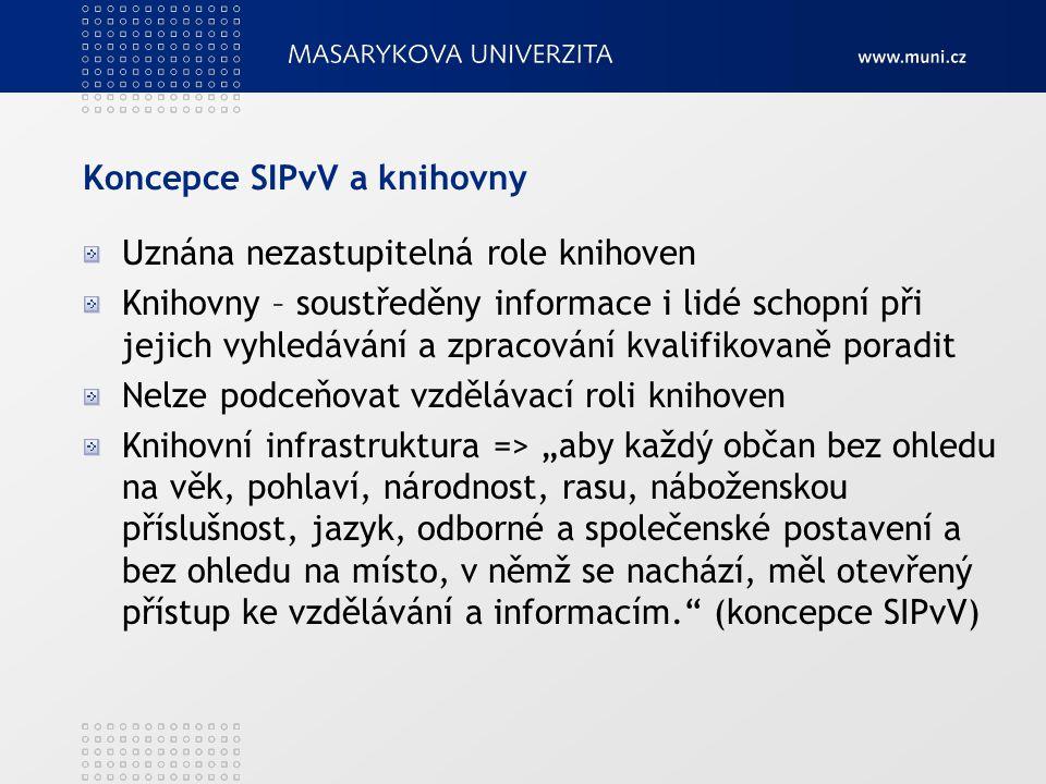 Koncepce SIPvV a knihovny Uznána nezastupitelná role knihoven Knihovny – soustředěny informace i lidé schopní při jejich vyhledávání a zpracování kval