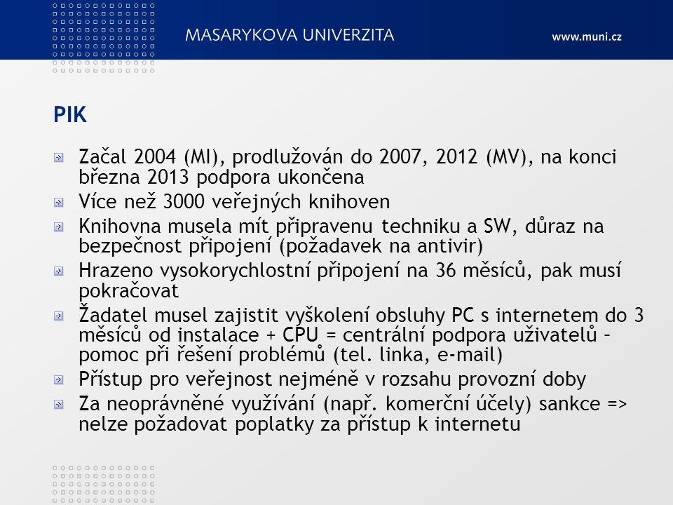 PIK Začal 2004 (MI), prodlužován do 2007, 2012 (MV), na konci března 2013 podpora ukončena Více než 3000 veřejných knihoven Knihovna musela mít připra