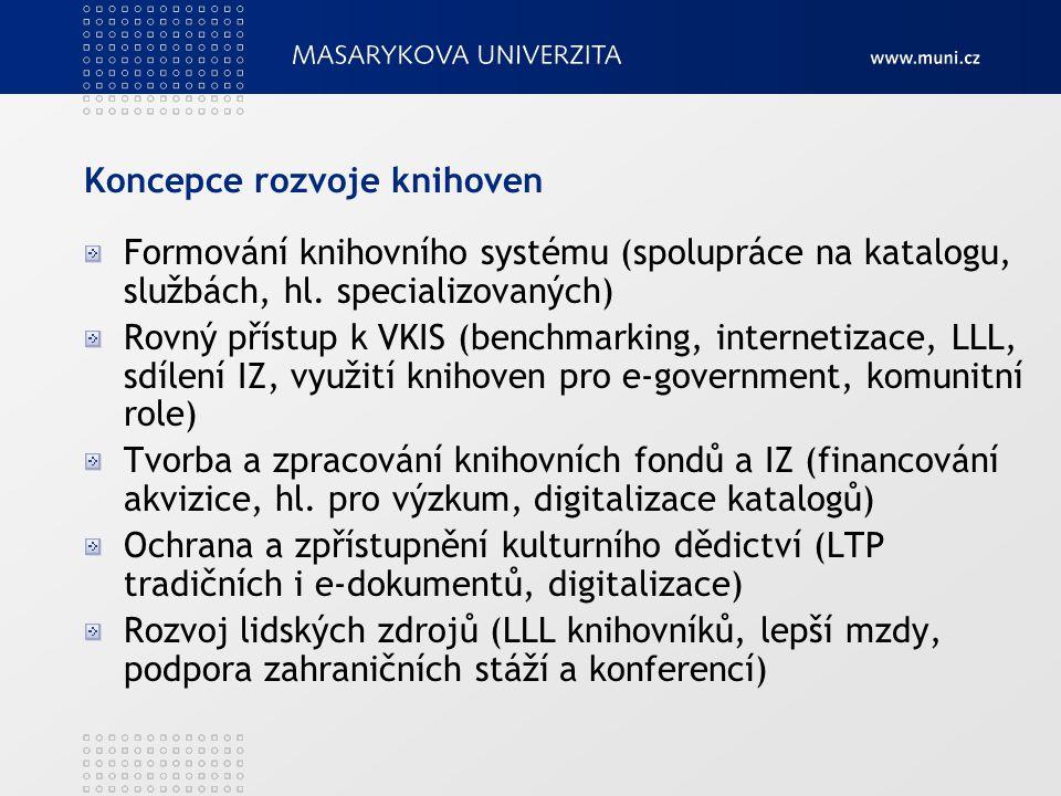 Koncepce rozvoje knihoven Formování knihovního systému (spolupráce na katalogu, službách, hl. specializovaných) Rovný přístup k VKIS (benchmarking, in