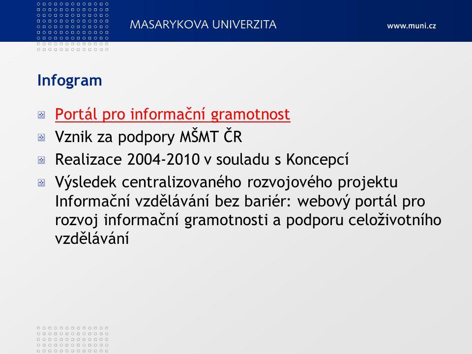 Infogram Portál pro informační gramotnost Vznik za podpory MŠMT ČR Realizace 2004-2010 v souladu s Koncepcí Výsledek centralizovaného rozvojového proj