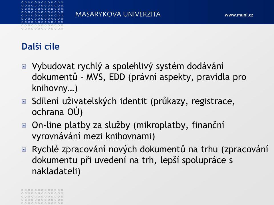 Další cíle Vybudovat rychlý a spolehlivý systém dodávání dokumentů – MVS, EDD (právní aspekty, pravidla pro knihovny…) Sdílení uživatelských identit (