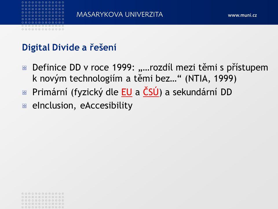 """Digital Divide a řešení Definice DD v roce 1999: """"…rozdíl mezi těmi s přístupem k novým technologiím a těmi bez…"""" (NTIA, 1999) Primární (fyzický dle E"""