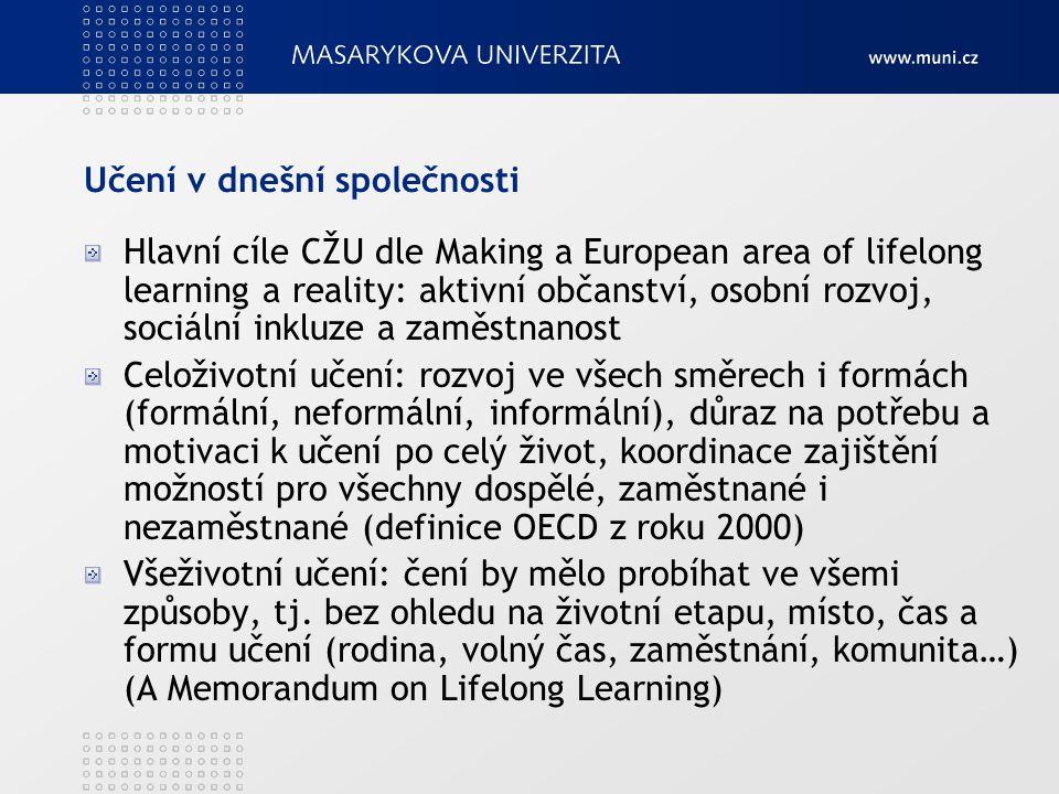 Učení v dnešní společnosti Hlavní cíle CŽU dle Making a European area of lifelong learning a reality: aktivní občanství, osobní rozvoj, sociální inklu