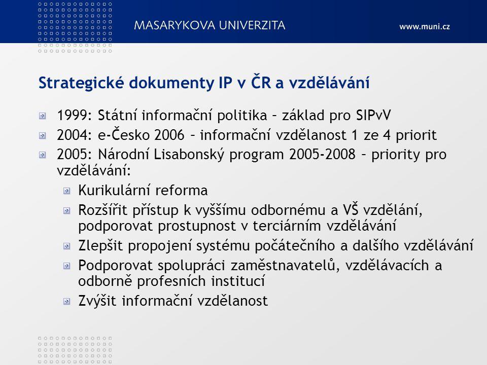 Strategické dokumenty IP v ČR a vzdělávání 1999: Státní informační politika – základ pro SIPvV 2004: e-Česko 2006 – informační vzdělanost 1 ze 4 prior